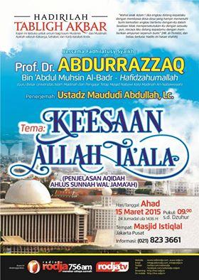 Tabligh Akbar | Keesaan Allah | Syaikh Abdurrazzaq | Istiqlal Maret 2015